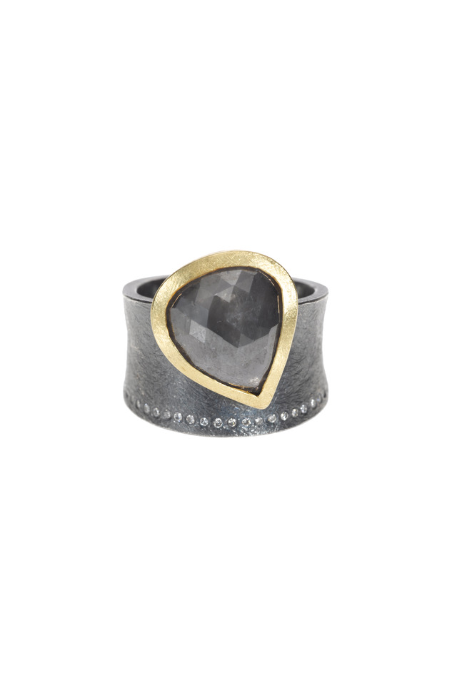 Yellow Gold Gray & White Diamond Ring