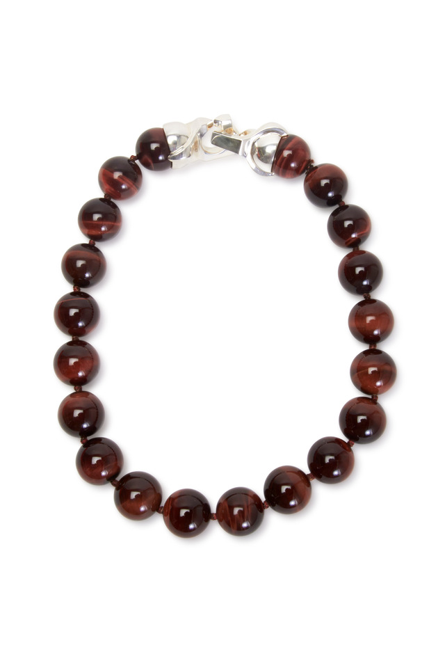 Sterling Silver Tigers Eye Bead Necklace