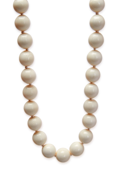 Patricia von Musulin - Sterling Silver Round White Ivory Bead Necklace