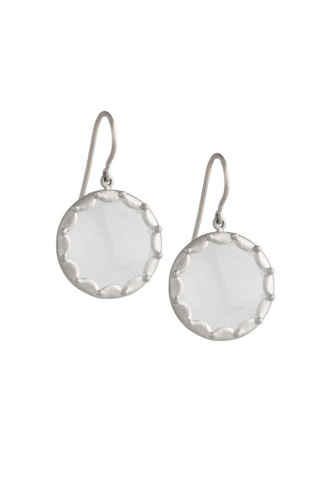 White Gold Scallop Overlay Moonstone Earrings