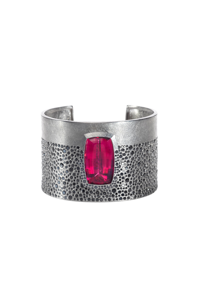 Palladium Tourmaline Black Diamond Cuff Bracelet