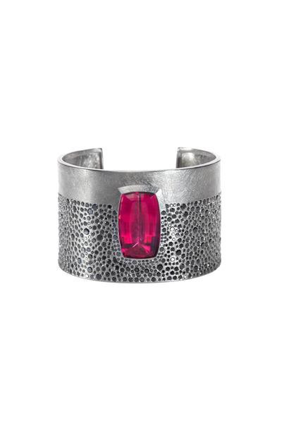 Todd Reed - Palladium Tourmaline Black Diamond Cuff Bracelet