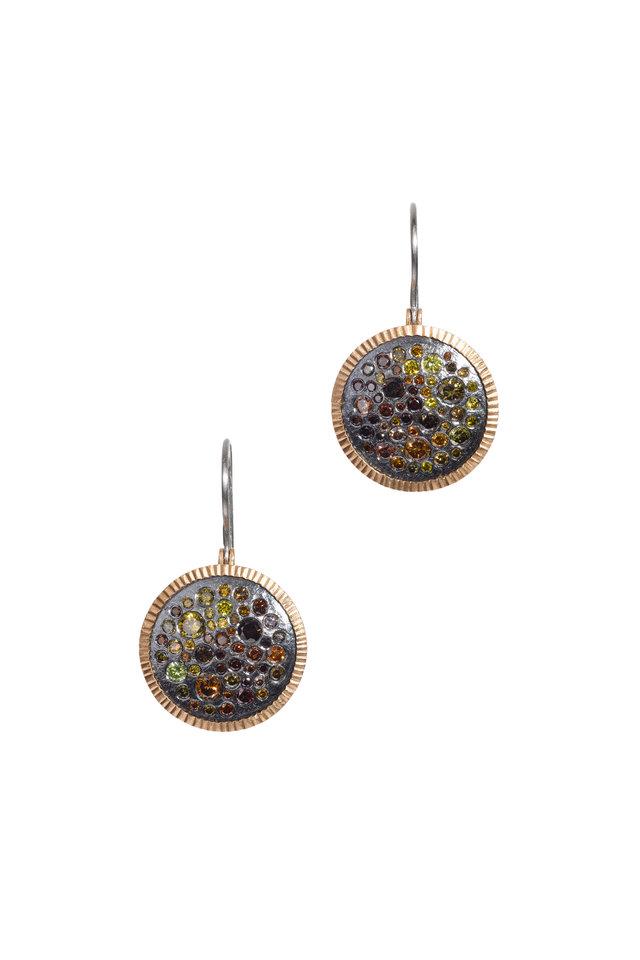 Rose Gold Autumn & Raw Diamond Dangle Earrings