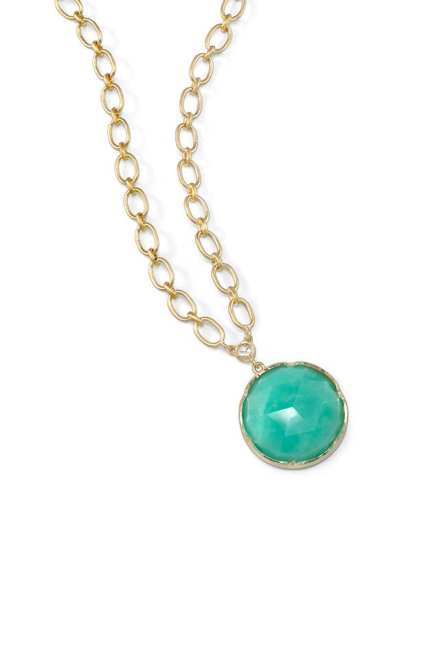 Yellow Gold Chrysoprase Diamond Necklace
