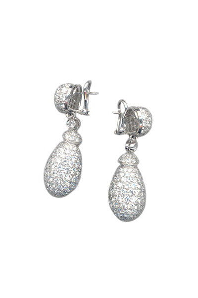 Eclat - White Gold Diamond Drop Earrings