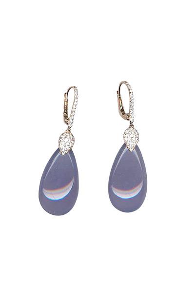 Eclat - Pink Gold Chalcedony Diamond Earrings