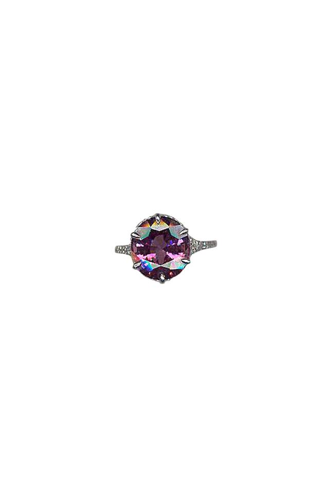 White Gold Purple Spinel Diamond Ring