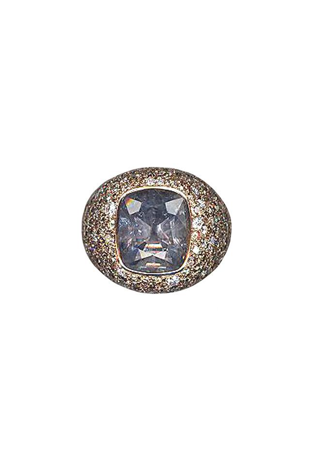 Pink Gold Sapphire Diamond Ring