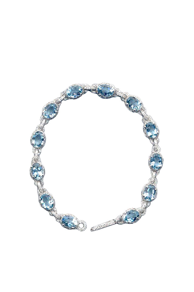 White Gold Aqua & Diamond Bracelet