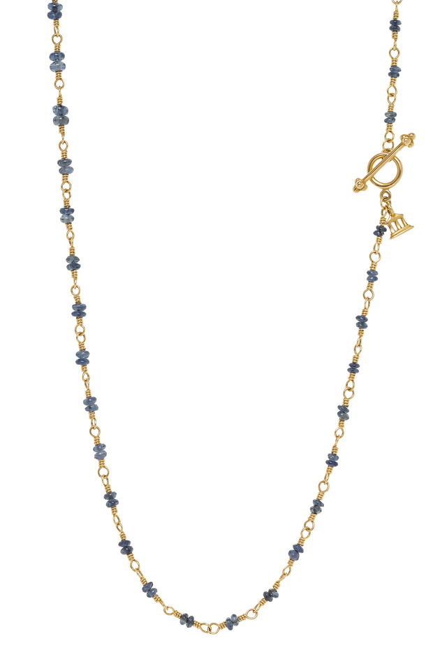 Kari Yellow Gold Double Blue Sapphire Necklace