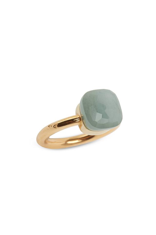 Pink Gold Milky Aquamarine Ring