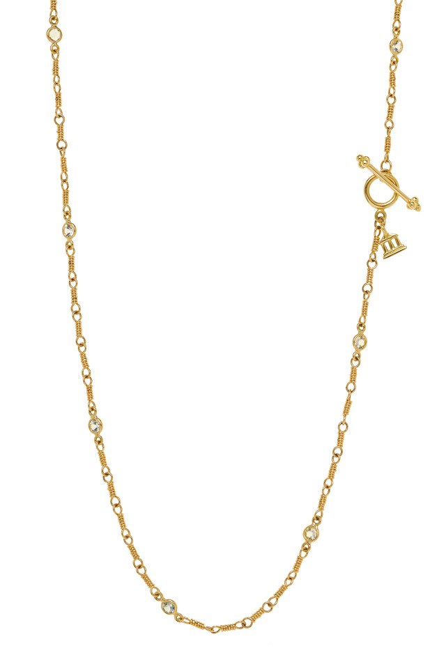 Yellow Gold White Sapphire Necklace