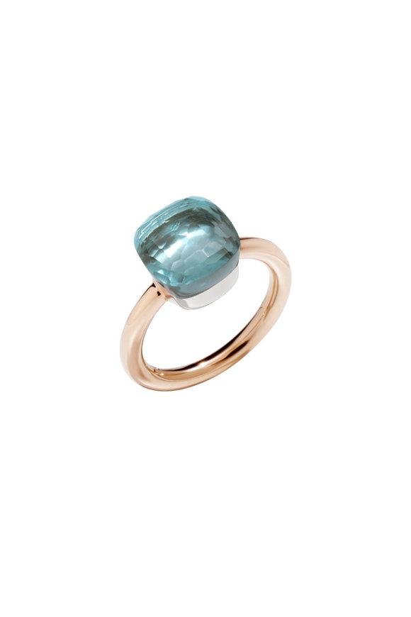 Pomellato Nudo 18K Rose Gold Blue Topaz Ring