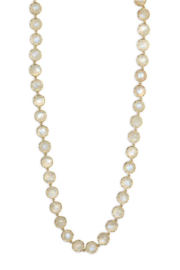 Irene Neuwirth Yellow Gold Rose-Cut Rainbow Moonstone Necklace