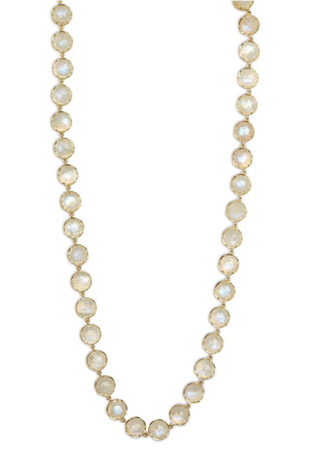 Yellow Gold Rose-Cut Rainbow Moonstone Necklace