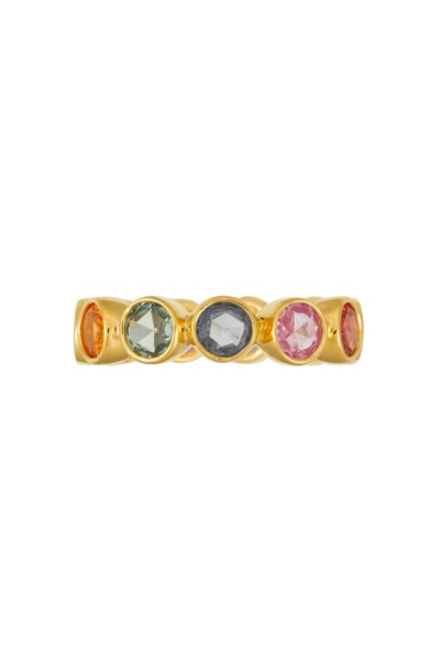 Temple St. Clair - 18K Yellow Gold Mixed Sapphire Eternity Band