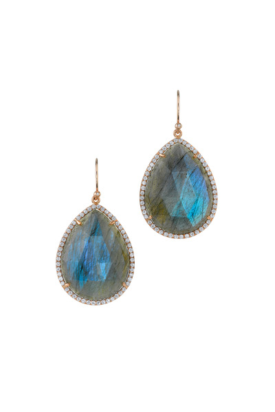 Irene Neuwirth - Gold Labradorite Pavé-Set Diamond Dangle Earrings