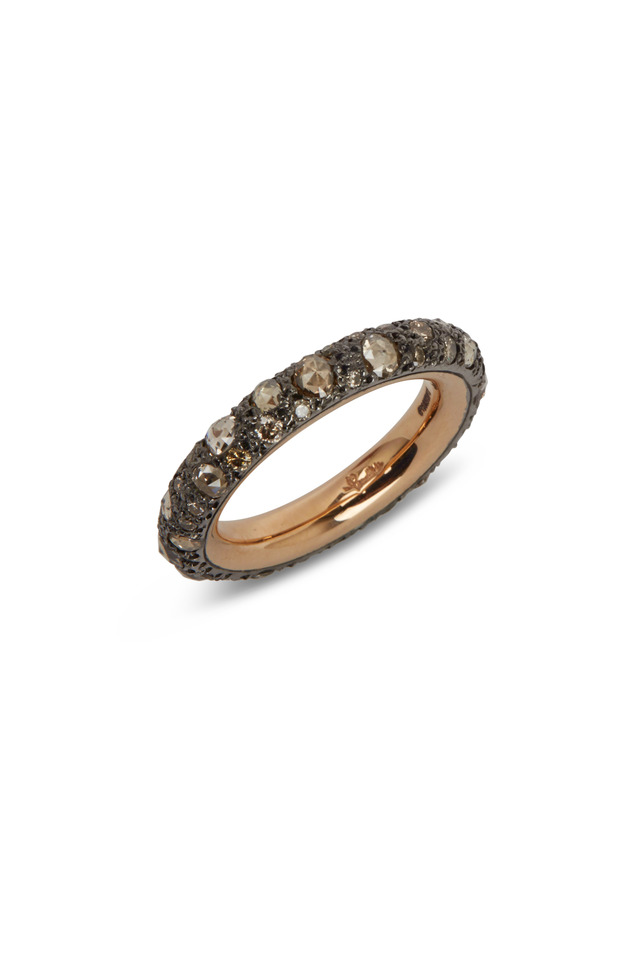 Gold Burnished Silver Brown Diamond Tango Band