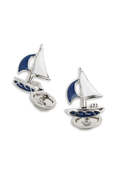 Jan Leslie - Sterling Silver Moving Sailboat Cuff Links