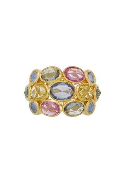 Temple St. Clair - Yellow Gold Mixed Sapphire Bombe Ring