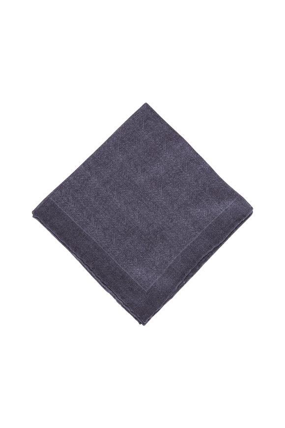 Paolo Albizzati Gray Herringbone Wool Pocket Square