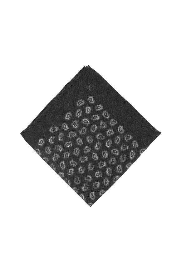 Isaia Gray Wool & Silk Paisley Pocket Square
