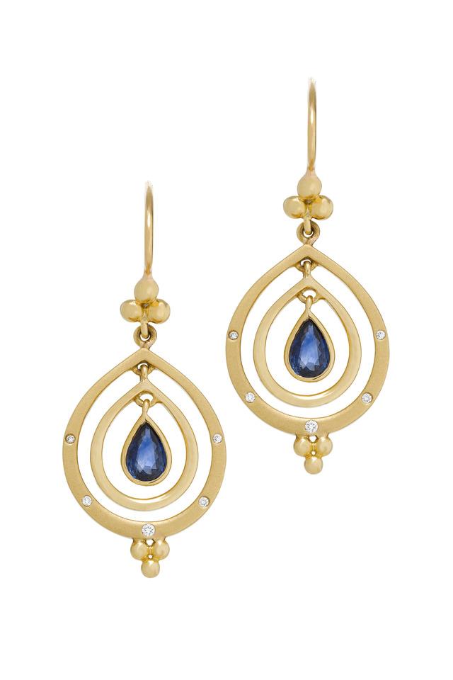 Yellow Gold Blue Sapphire Diamond Dangle Earrings