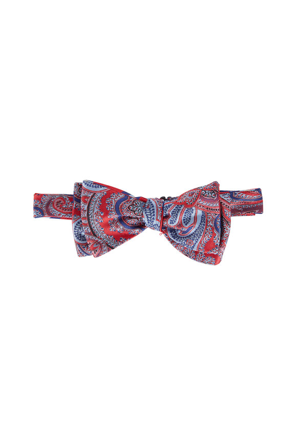 Butterfly Bowtie Red Paisley Reversible Silk Bow Tie