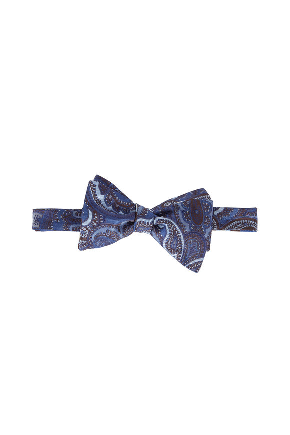 Butterfly Bowtie Blue Paisley Reversible Silk Bow Tie