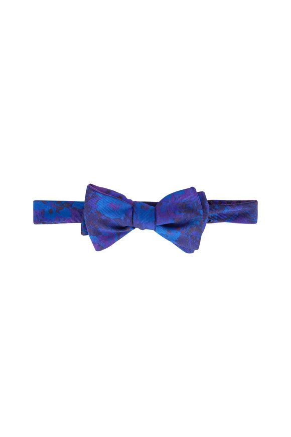Butterfly Bowtie Purple Paisley Reversible Silk Bow Tie