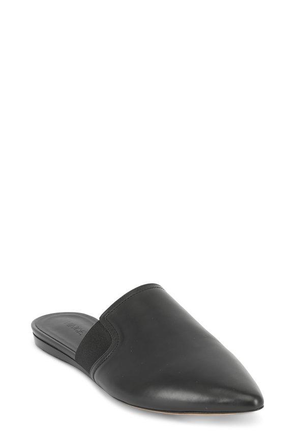 Vince Nadette Black Leather Pointed Slide
