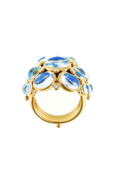 Temple St. Clair - 18K Yellow Gold Blue Moonstone Bombe Diamond Ring