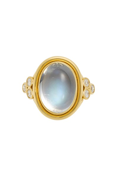 Temple St. Clair - Yellow Gold Blue Moonstone Diamond Ring