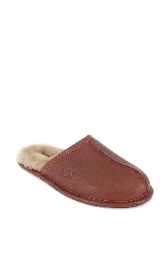 Ugg Scuff Cognac Scotch Grained Leather Slipper