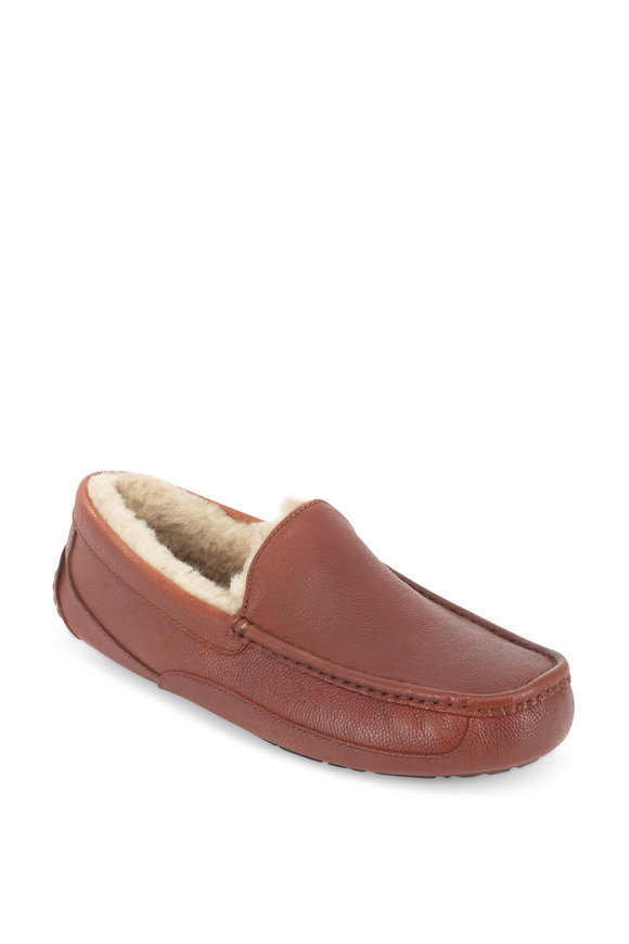 Ugg Ascot Cognac Scotch Grained Leather Slipper