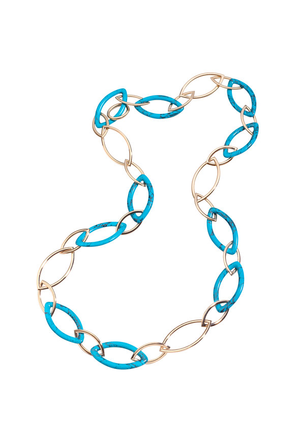 Vhernier 18K Pink Gold & Turquoise Pop Chain