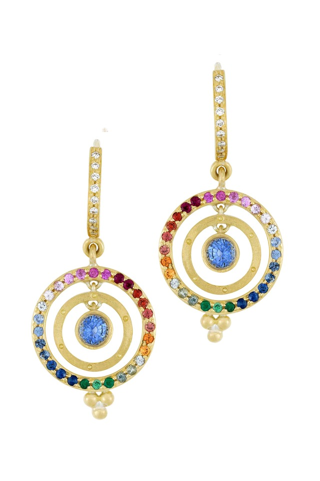 Yellow Gold Mixed Sapphire Diamond Earrings