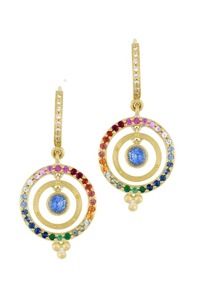 Temple St. Clair - Yellow Gold Mixed Sapphire Diamond Earrings