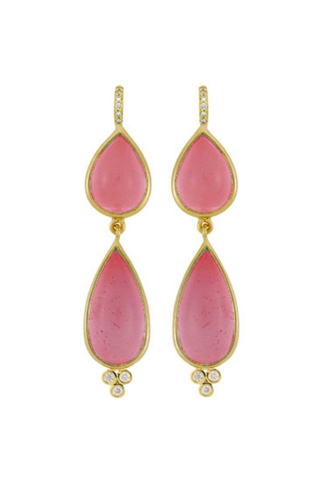18K Gold Pink Tourmaline & Diamond Drop Earrings