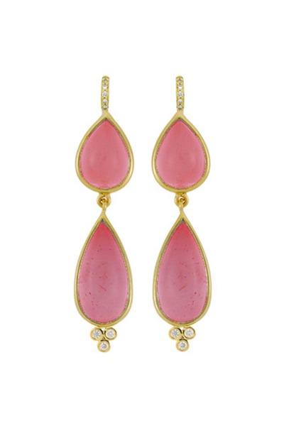 Temple St. Clair - 18K Gold Pink Tourmaline & Diamond Drop Earrings