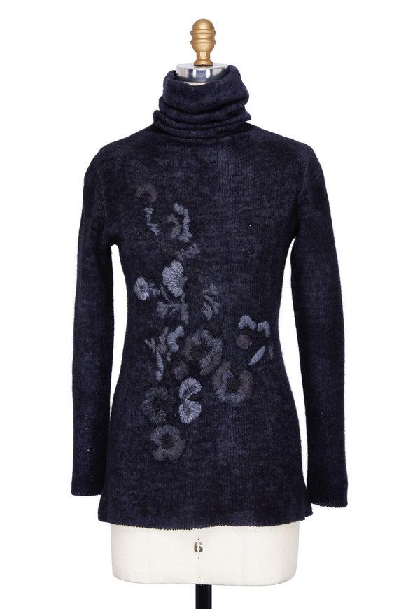 Avant Toi Navy Blue Wool Blend Floral Embroidered Turtleneck