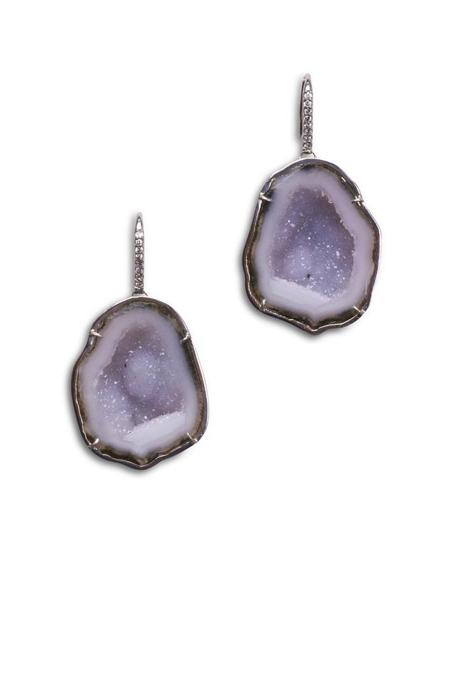 White Gold Light Blue Geode Diamond Earrings