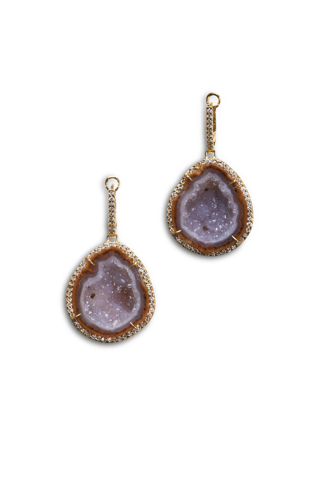 Yellow Gold Geode Diamond Earrings