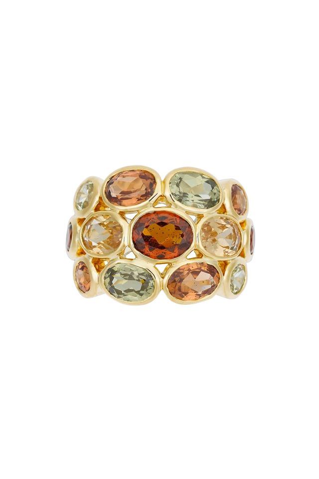 18K Yellow Gold Mixed Garnet Ring