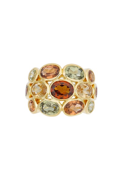 Temple St. Clair - 18K Yellow Gold Mixed Garnet Ring