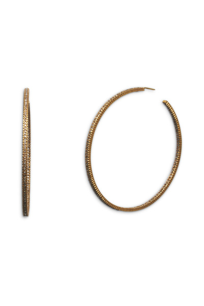 Yossi Harari - Lilah Pavé-Set Cognac Diamond Hoop Earrings