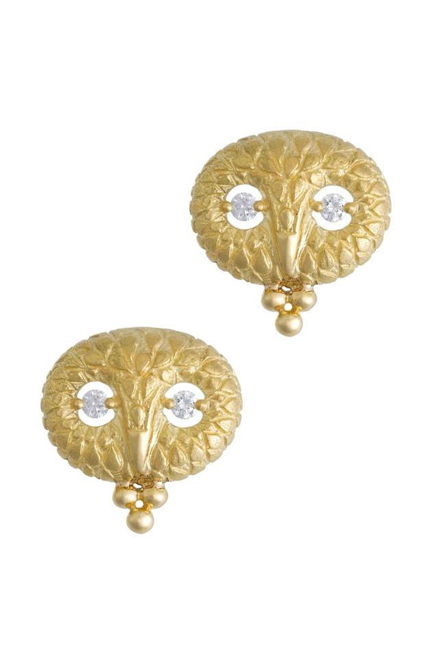 Yellow Gold Owl Diamond Stud Earrings
