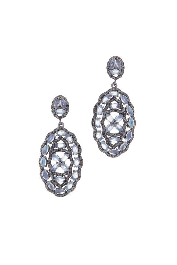 Loriann Rhodium Moonstone Earrings