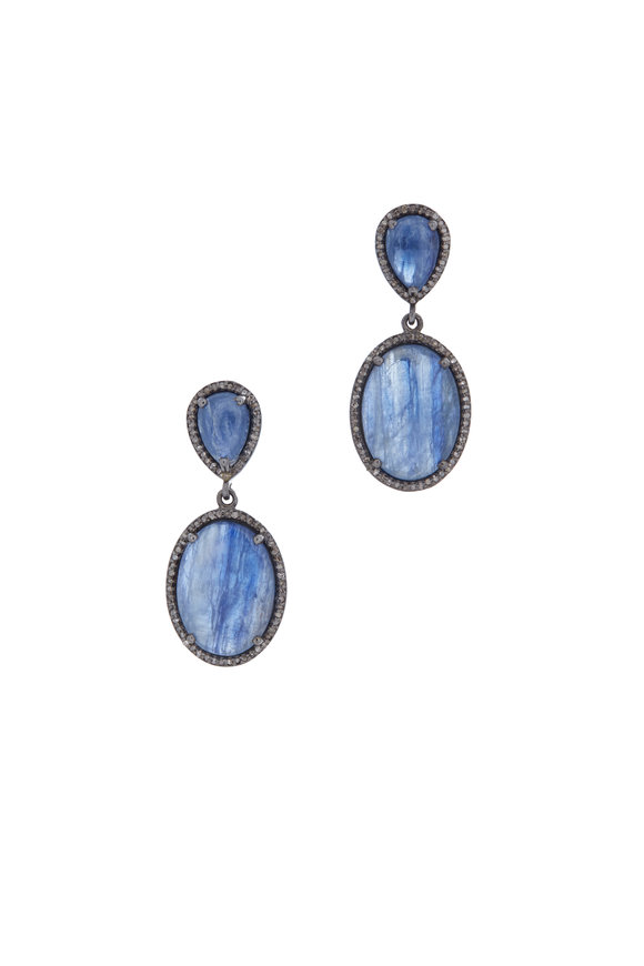 LORIANN Sterling Silver Kyanite & Diamond Earrings