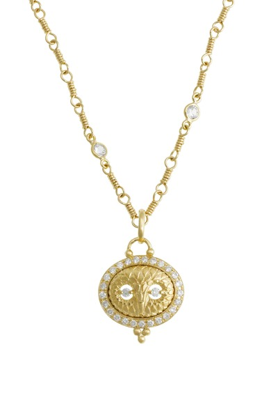 Temple St. Clair - Yellow Gold Owl Face Pendant